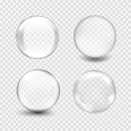 Set of transparent glass sphere with glares and highlights. White pearl, water soap bubble, shiny glossy orb. Vector illustration with transparencies, gradient and effects for your design and businessのイラスト素材