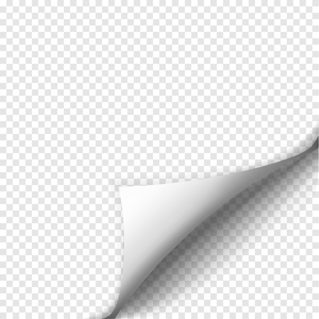 Illustration pour Page curl with shadow on blank sheet of paper. White paper sticker. Element for advertising and promotional message isolated on transparent background. Vector illustration for your design and business - image libre de droit