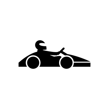 Illustration pour Kart with driver black icon. Go cart concept isolated on white background. illustration for your design and business. - image libre de droit