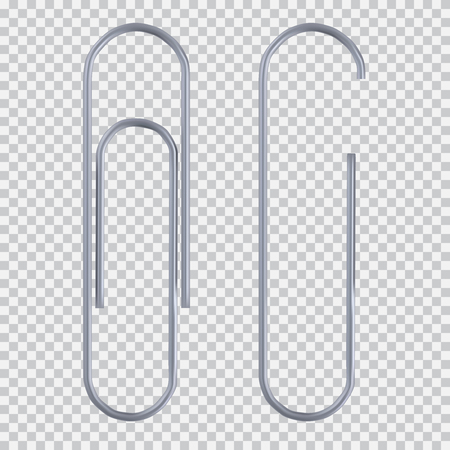 Ilustración de Realistic paper clip set. Isolated on white black transparent plaid background. Element for advertising and promotional message. illustration for your design and business. - Imagen libre de derechos