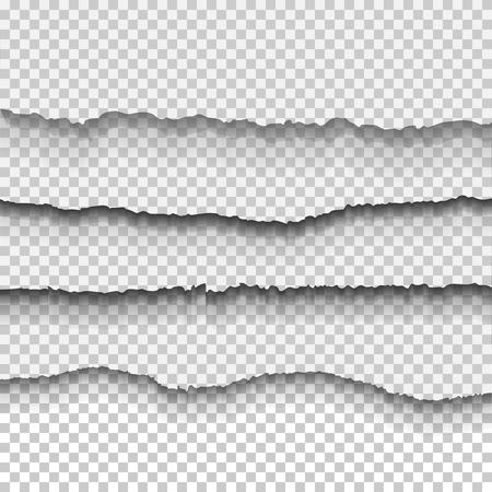 Set of transparent realistic ripped paper shadow effects