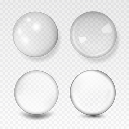 Illustration pour white transparent glass sphere with glares and highlights - image libre de droit