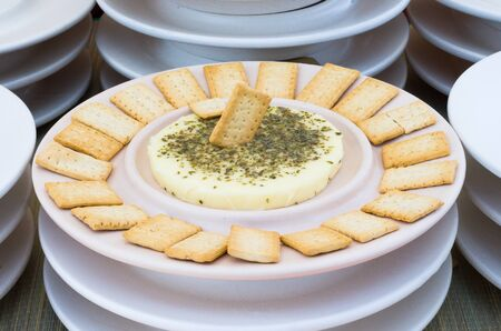 Delicious Extremaduran cheese with regana bread on a plate