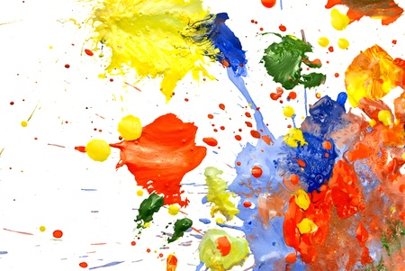 Foto de Multi-colored paint smeared randomly on a white background. - Imagen libre de derechos