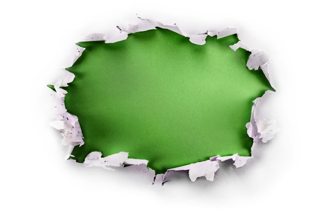 Breakthrough paper hole with green background, isolated on white.