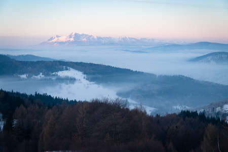Photo for Tatra mountain view in the morning. Fogs in the valleys. - Royalty Free Image