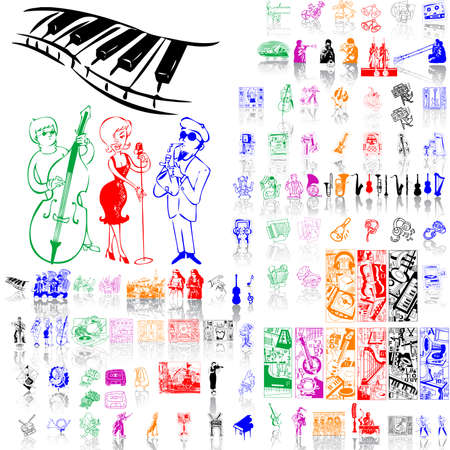 Set of music sketches. Part 1. Isolated groups and layers. Global colors.