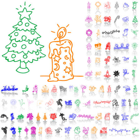Christmas Sketches.Set Of Christmas Sketches Part 7 Isolated Groups And