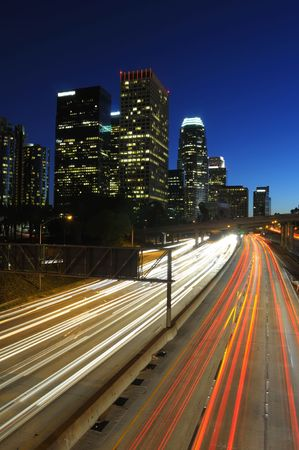 Los Angeles skyline and traffic on Highway 110 at night