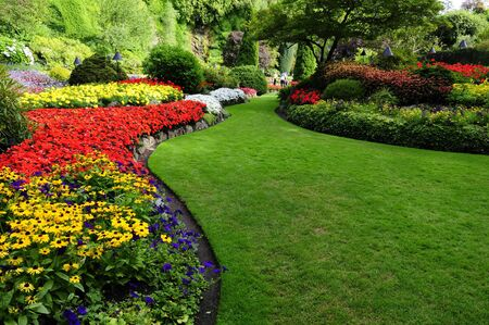 flower beds in formal garden