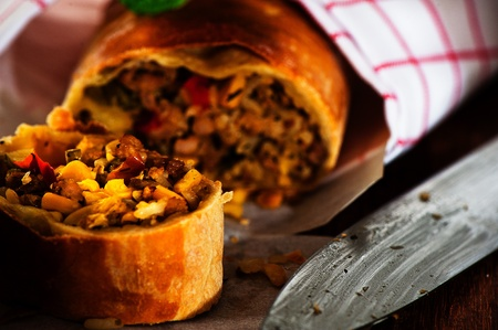 Tasty Spicy strudel with corn and minced meat as a new recipe