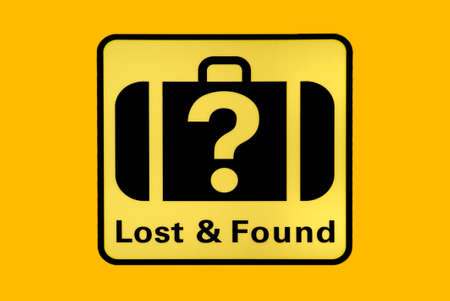 an indicating sign with Lost and Found on white background