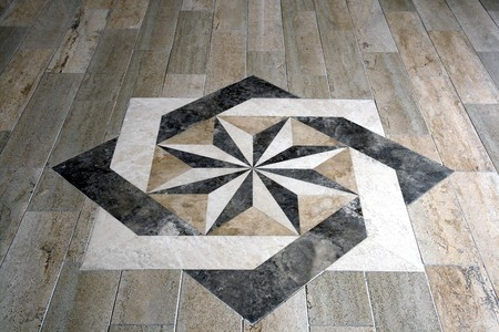 Marble floor with star shape tile