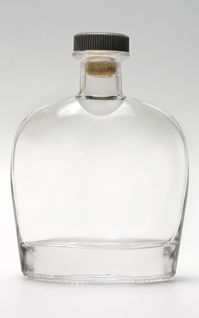 bottle glass reflection on gray background