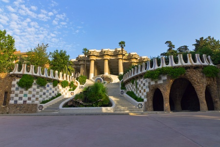 Central entry Park Guell in Barcelona - Spain