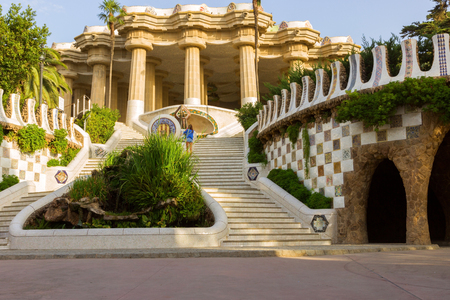 Park Guell designed by Antoni Gaudi in Barcelona, Spain.