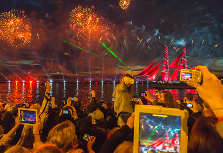 St.Petersburg, June 21, 2014: Celebration Scarlet Sails show during the White Nights Festival in St.Petersburg, Russia