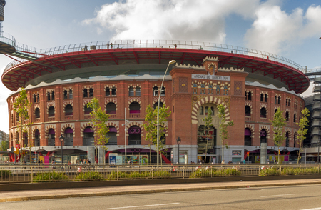 Barcelona, Spain - August 12, 2012 : Plaza de toros de las Arenas Shopping Mall in Barcelona, Spain