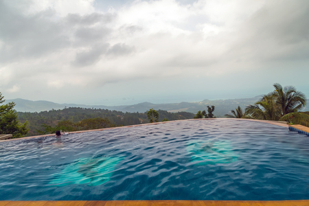 Photo for Hotel swimming pool blue water. surface of blue swimming pool - Royalty Free Image