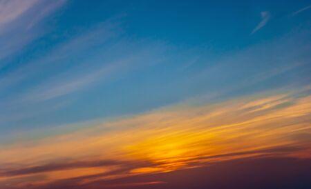 Photo pour Sunset sky panoramic photo cloud color background - image libre de droit