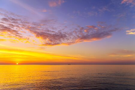 Photo for Sunset Gold sea background. Sunset sea waves. Summer sunset. morning sky - Royalty Free Image