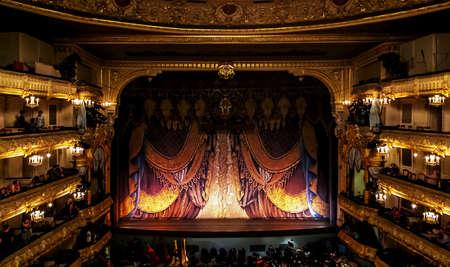 Photo pour Mariinsky Theatre, theater stage of opera and ballet scene intermission in Saint Petersburg, Russia. Saint-Petersburg, Russia, July 07, 2014 - image libre de droit