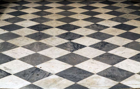 Photo for Ceramic Tiles ceramic floor square texture pattern black white chess background perspective interior - Royalty Free Image