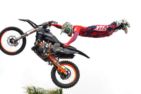 Genoa Italy - May 13 2017: Freestyle motocross performance featuring the world champion of the specialty.