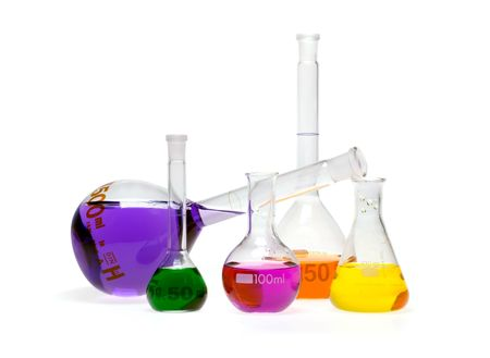 Same vials with colored chemicals