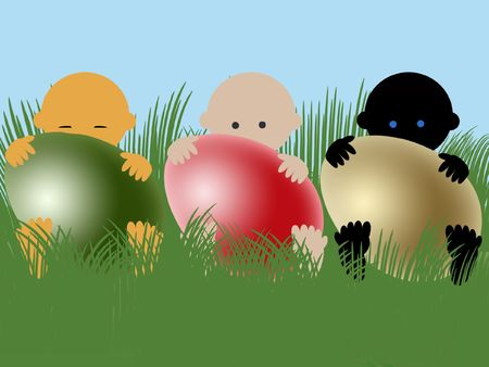 Multiracial babies with easter eggs on grass