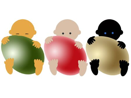 Multiracial babies with eggs on white