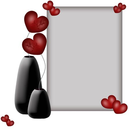 Valentines frame and flowers hearts in vases