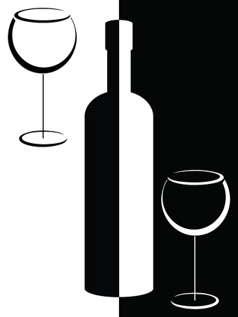 Black and white bottle and wine glasses