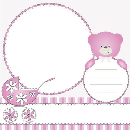 Photo for Pink babies background with photo frame - Royalty Free Image