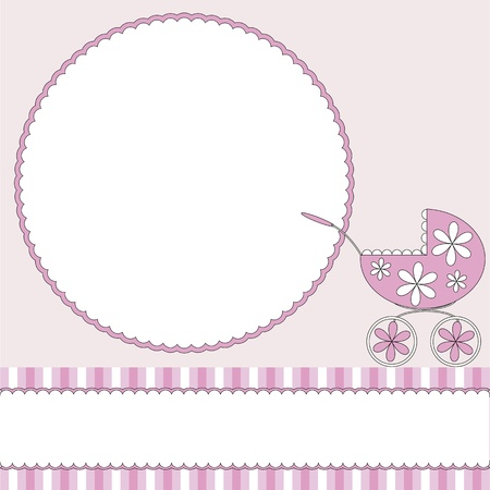 Illustration pour Pink babies background with photo frame and pram - image libre de droit