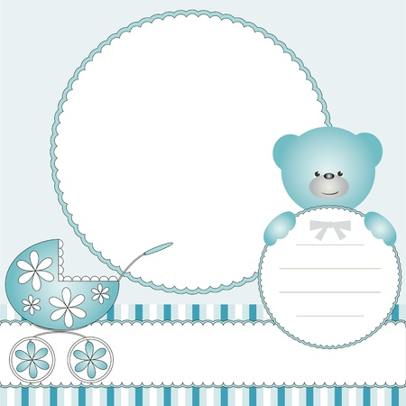 Babies blue background with pram and teddy bear