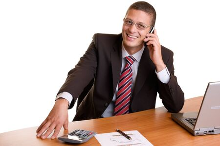 Businessman makes a telephone call