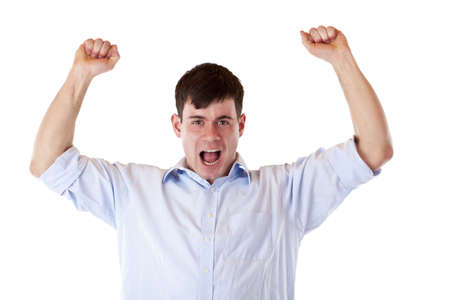 Young attractive successful man jubilates with chlenched fists. Isolated on white background.