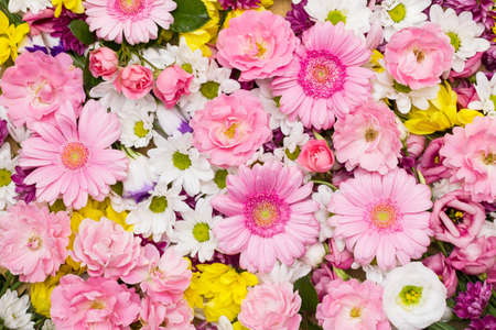 Photo for Roses, gerbera and other flowers arranged as a colorful natural background image with white, yellow and pink blossoms - Royalty Free Image