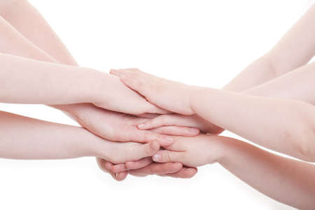Hands of children and adults