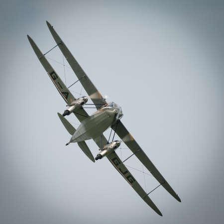 Abingdon, UK - May 4th 2014: A De Havilland Dragon rapide, 1930's vintage passenger Biplane, British made. Seen at Abingdon Airshow
