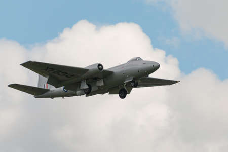 Cosford, UK - 8 June 2014: MidAir Squadron's  English Electric Canberra, displaying at the RAF Cosford Airshow.
