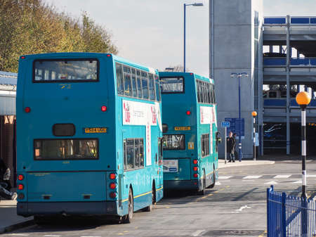 High Wycombe Bus Station, UK, with double decker buses.