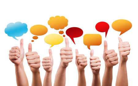 many thumbs up with speech bubbles