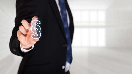 Photo pour businessman selects an paragraph article - image libre de droit