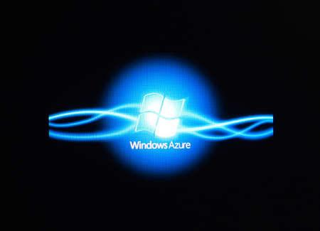 Russia, Poltavskaya village - August 13, 2016: Logo Azure Window. Appearance of the logo in the windows 10