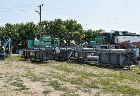 Russia, Temryuk - 15 July 2015: Trailer Hitch for tractors and combines. Trailers for agricultural machinery.