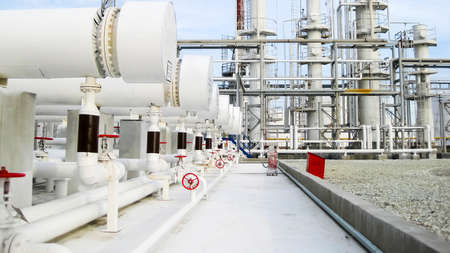 Photo pour Heat exchangers in a refinery. The equipment for oil refining. - image libre de droit