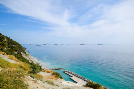 Cargo ships and barges at sea, a squadron of cargo ships. Tsemes Bay,