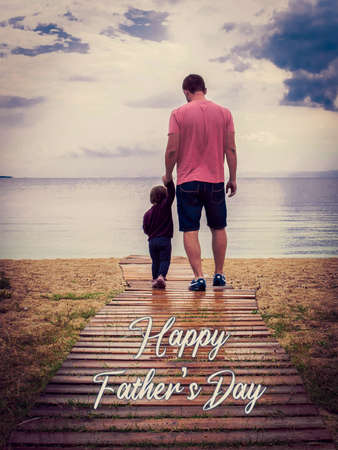 Photo pour Men and a kid representing a father and a son. Father a son walking together. Poster, background o backdrop of a man and a kid with the text: Happy father's day. Copy space. Father and kid backwards. - image libre de droit